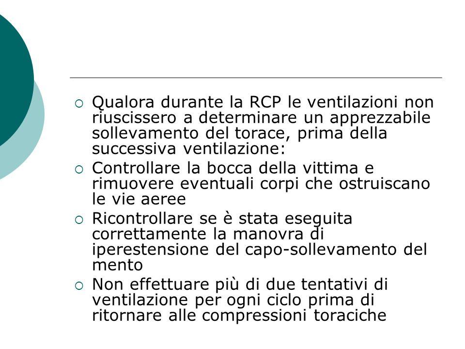 Qualora durante la RCP le ventilazioni non riuscissero a determinare un apprezzabile sollevamento del torace, prima della successiva ventilazione: