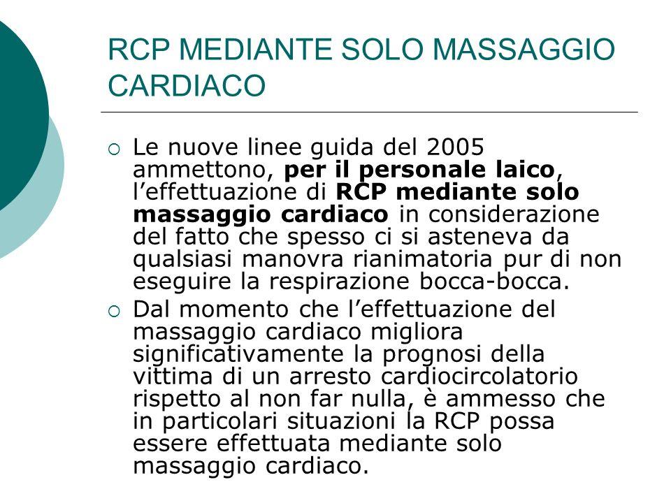RCP MEDIANTE SOLO MASSAGGIO CARDIACO