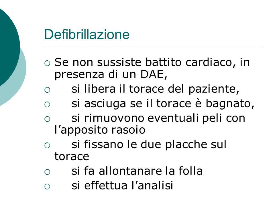 Defibrillazione Se non sussiste battito cardiaco, in presenza di un DAE, si libera il torace del paziente,