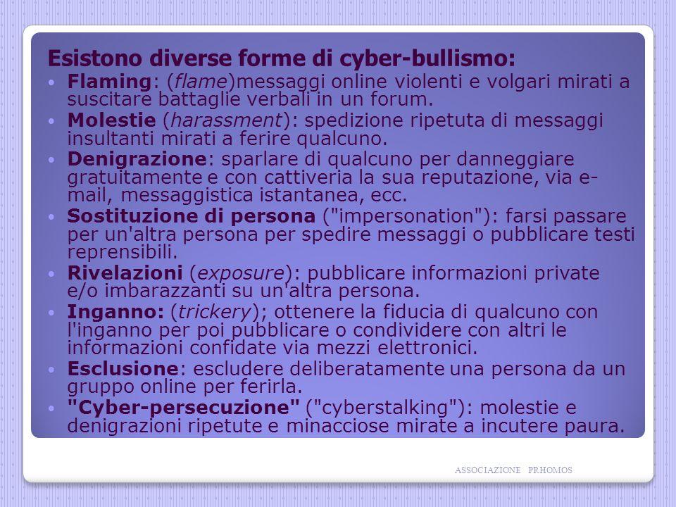 Esistono diverse forme di cyber-bullismo: