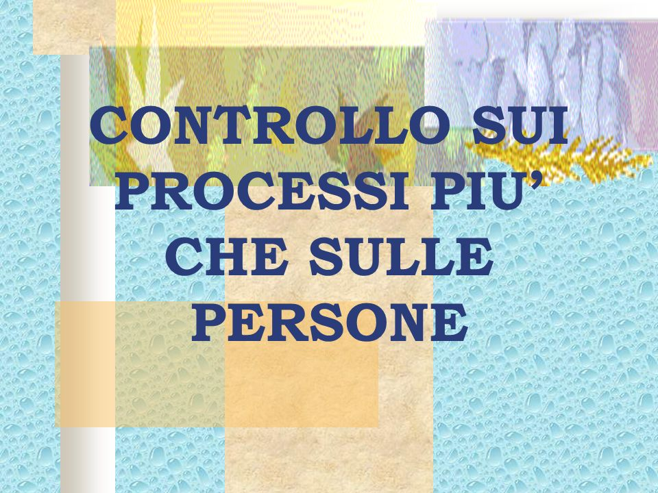 CONTROLLO SUI PROCESSI PIU' CHE SULLE PERSONE