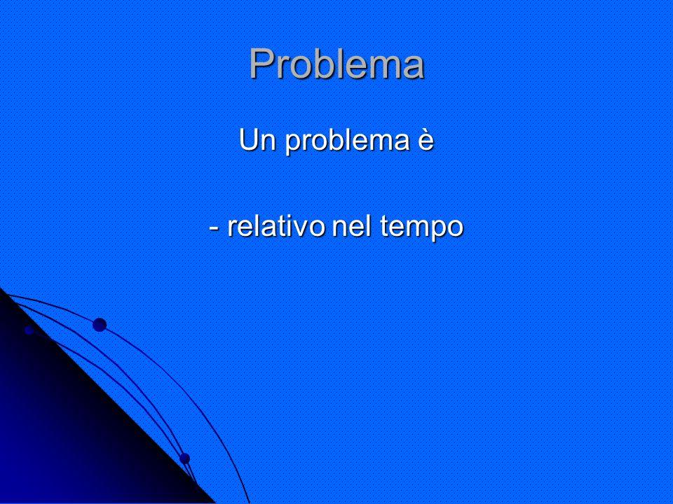 Problema Un problema è - relativo nel tempo
