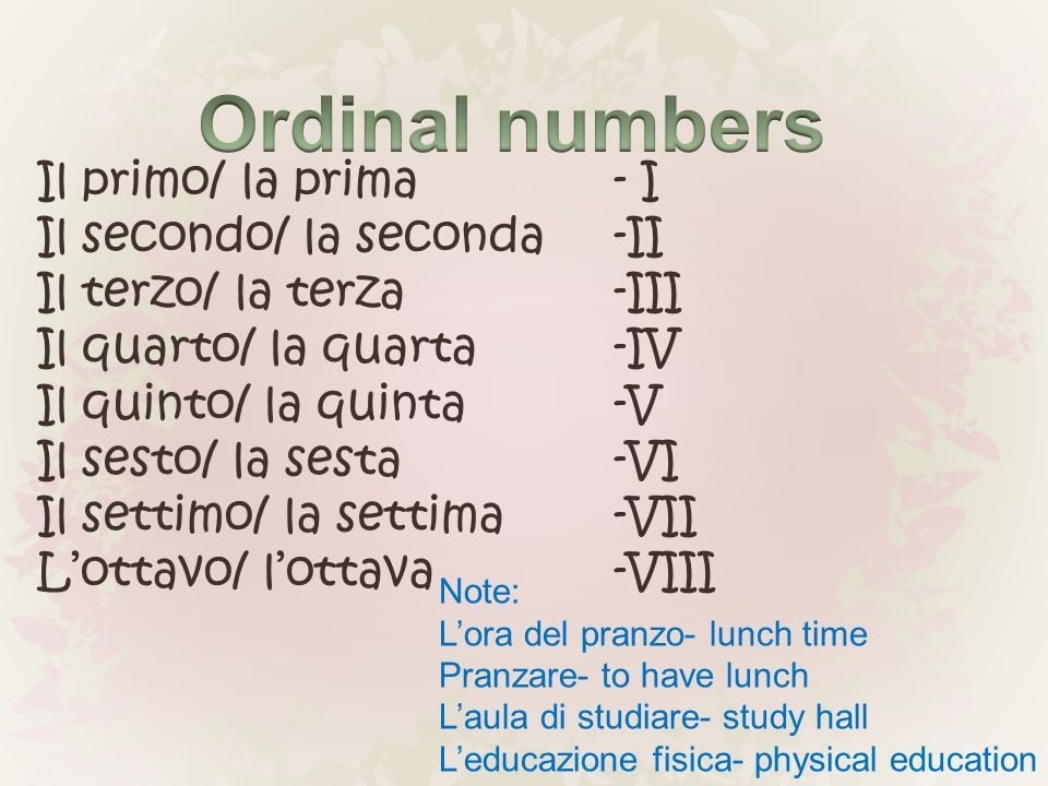 Ordinal numbers Il primo/ la prima - I Il secondo/ la seconda -II