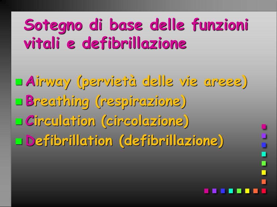 Sotegno di base delle funzioni vitali e defibrillazione