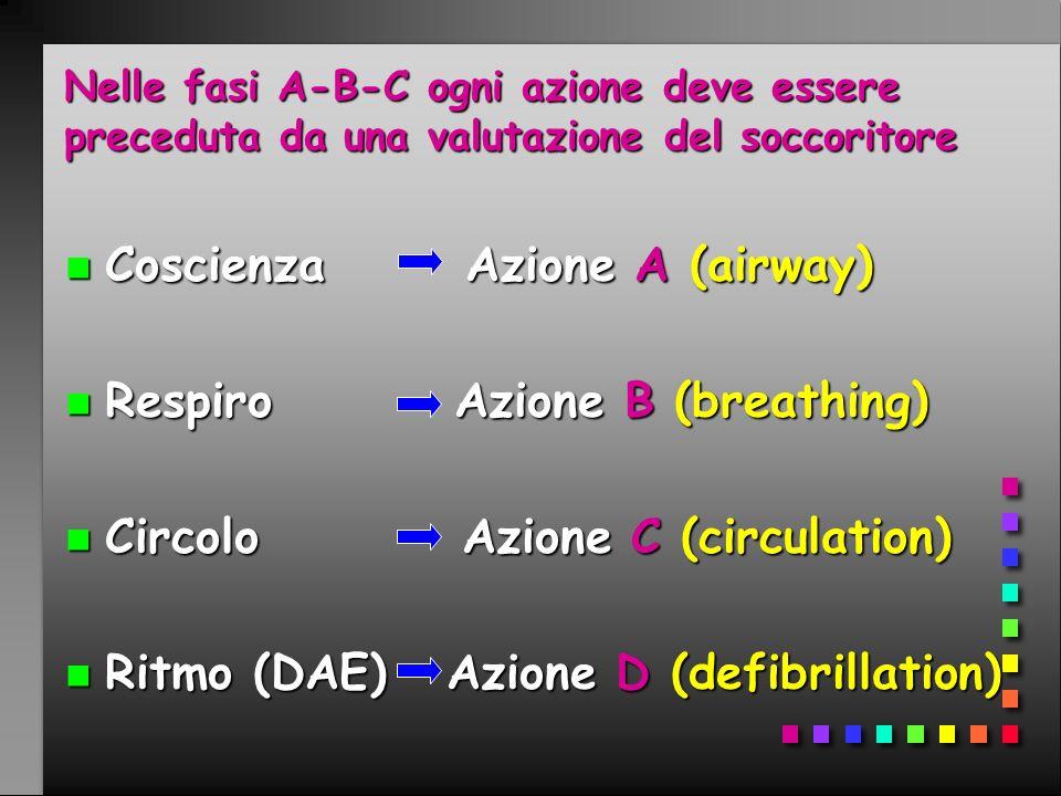 Coscienza Azione A (airway) Respiro Azione B (breathing)