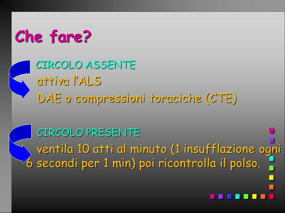 Che fare attiva l'ALS DAE o compressioni toraciche (CTE)