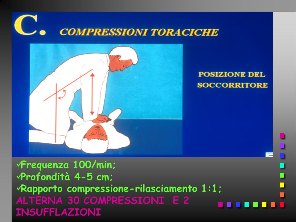 Frequenza 100/min; Profondità 4-5 cm; Rapporto compressione-rilasciamento 1:1; ALTERNA 30 COMPRESSIONI E 2 INSUFFLAZIONI.