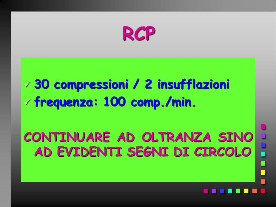RCP 30 compressioni / 2 insufflazioni frequenza: 100 comp./min.