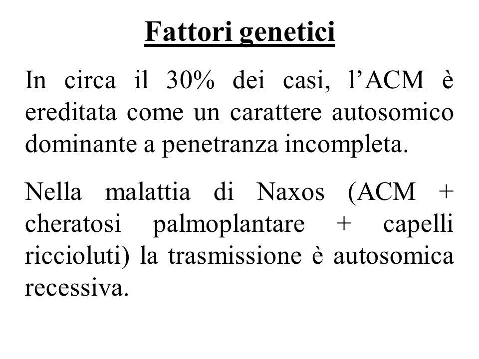 Fattori genetici In circa il 30% dei casi, l'ACM è ereditata come un carattere autosomico dominante a penetranza incompleta.