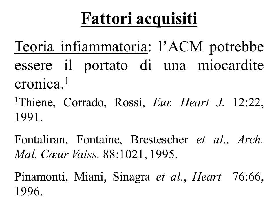 Fattori acquisiti Teoria infiammatoria: l'ACM potrebbe essere il portato di una miocardite cronica.1.