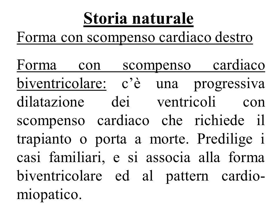 Storia naturale Forma con scompenso cardiaco destro