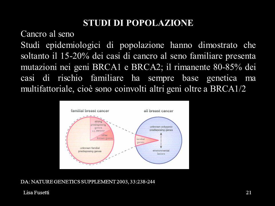 STUDI DI POPOLAZIONE Cancro al seno