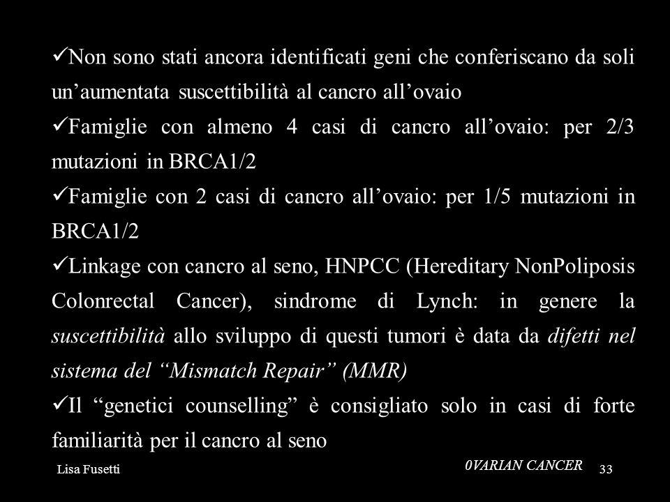 Famiglie con 2 casi di cancro all'ovaio: per 1/5 mutazioni in BRCA1/2