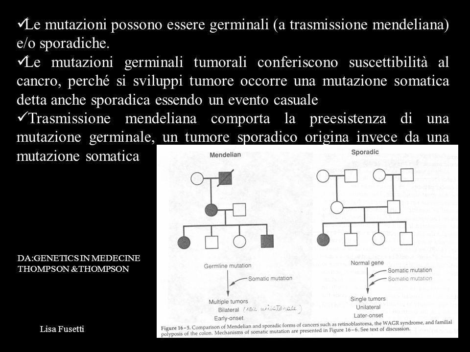 Le mutazioni possono essere germinali (a trasmissione mendeliana) e/o sporadiche.