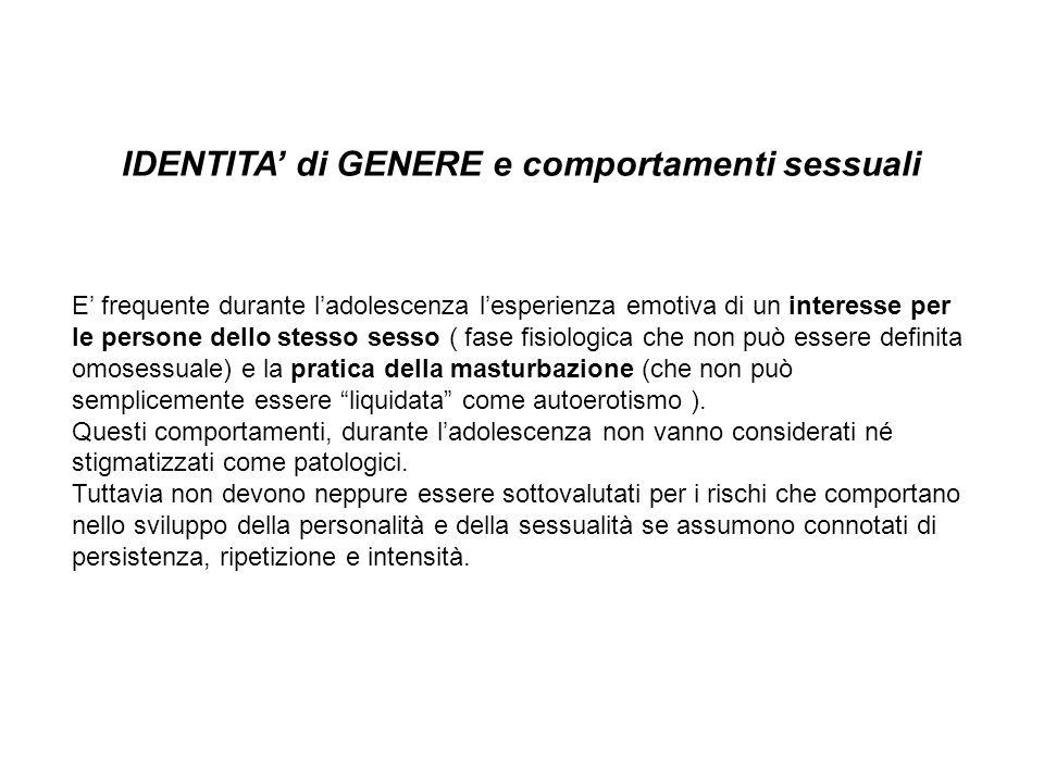 IDENTITA' di GENERE e comportamenti sessuali