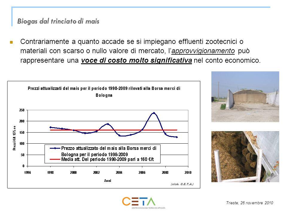 Biogas dal trinciato di mais