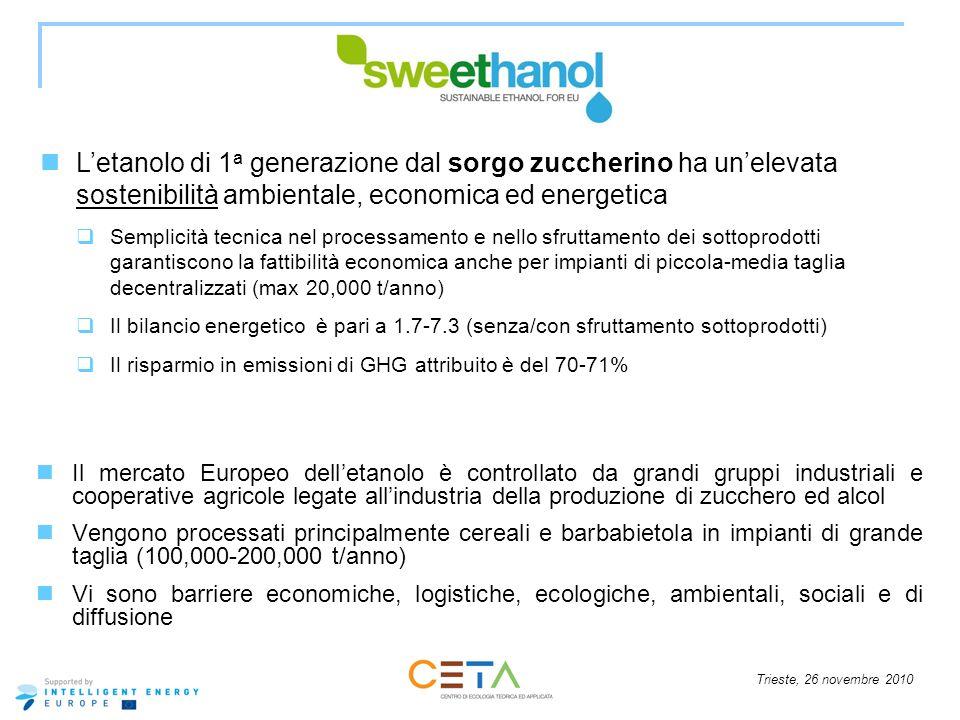 L'etanolo di 1a generazione dal sorgo zuccherino ha un'elevata sostenibilità ambientale, economica ed energetica