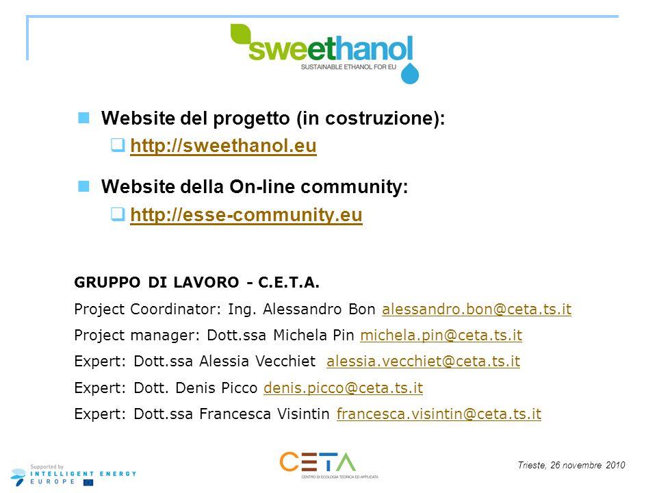 Website del progetto (in costruzione): http://sweethanol.eu