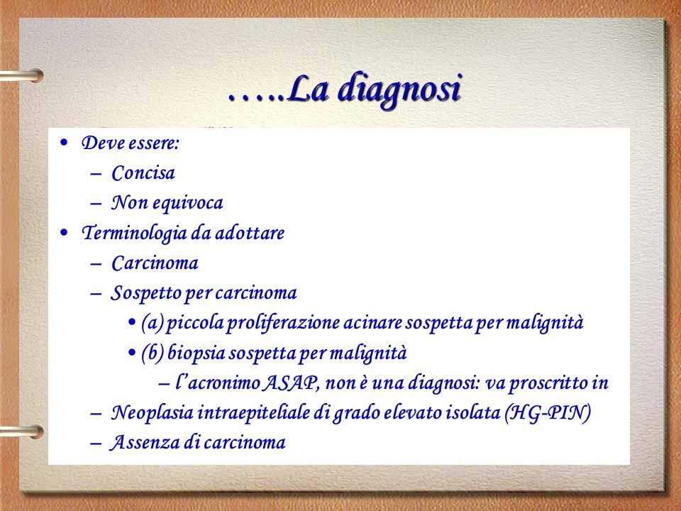 …..La diagnosi Deve essere: Concisa Non equivoca