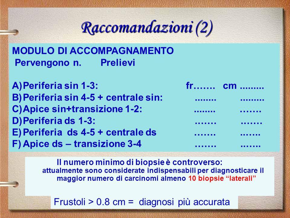 Raccomandazioni (2) MODULO DI ACCOMPAGNAMENTO Pervengono n. Prelievi