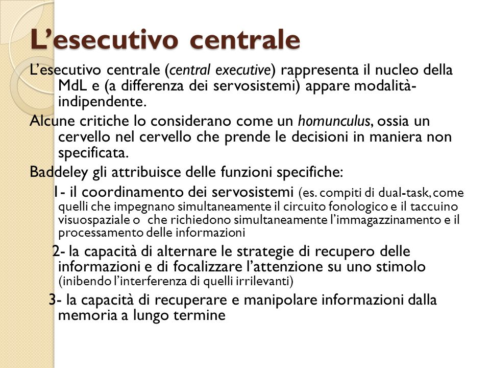 L'esecutivo centrale