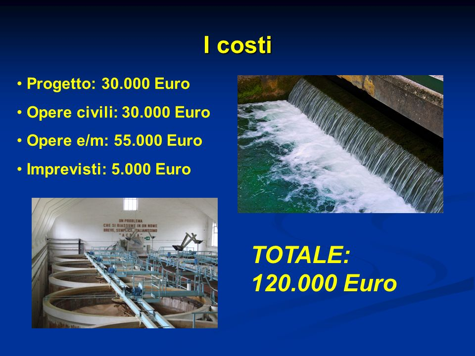 I costi TOTALE: 120.000 Euro Progetto: 30.000 Euro