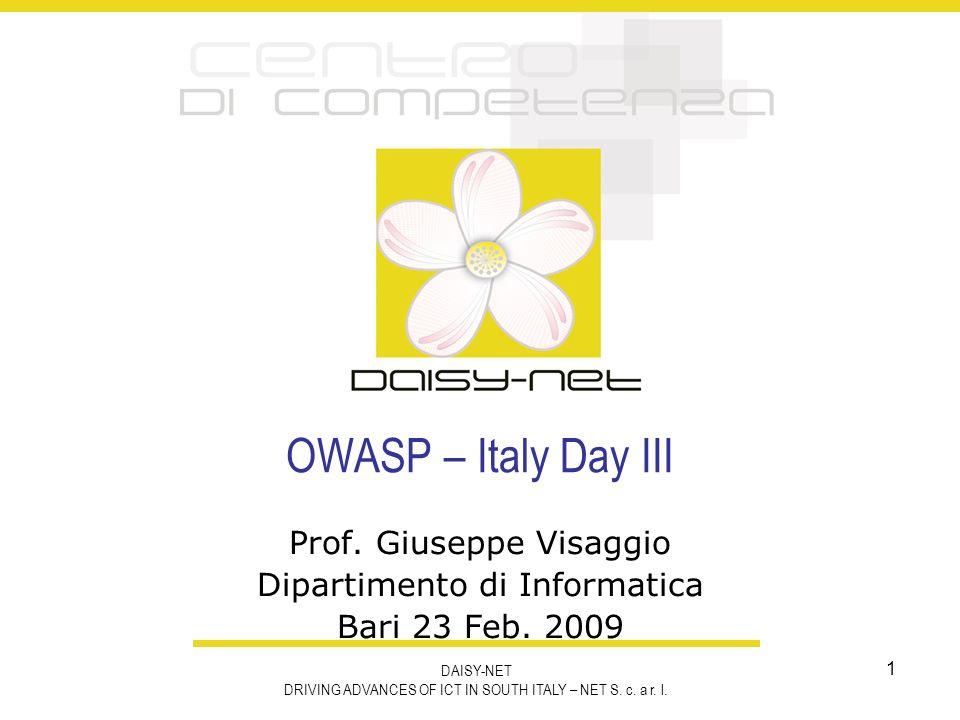 Prof. Giuseppe Visaggio Dipartimento di Informatica Bari 23 Feb. 2009