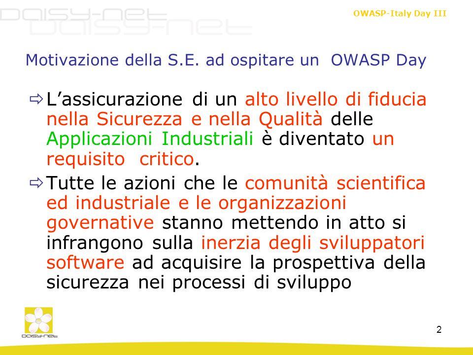 Motivazione della S.E. ad ospitare un OWASP Day
