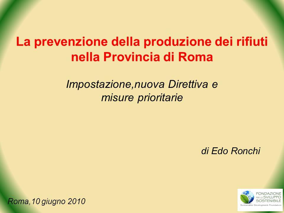 La prevenzione della produzione dei rifiuti nella Provincia di Roma