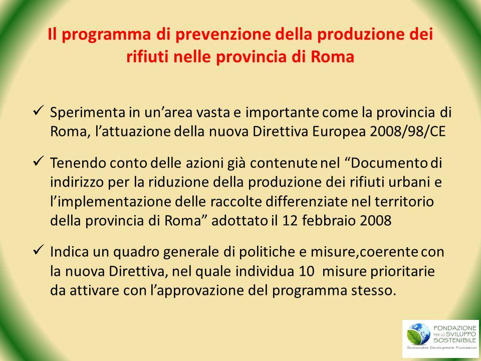 Il programma di prevenzione della produzione dei rifiuti nelle provincia di Roma