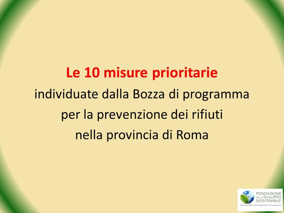 Le 10 misure prioritarie individuate dalla Bozza di programma