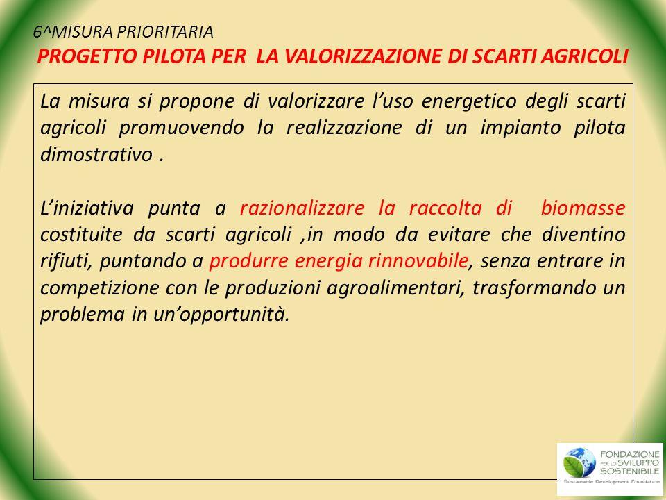 6^MISURA PRIORITARIA PROGETTO PILOTA PER LA VALORIZZAZIONE DI SCARTI AGRICOLI
