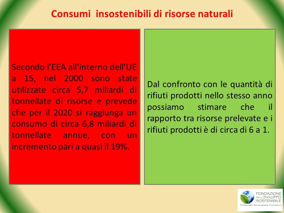 Consumi insostenibili di risorse naturali