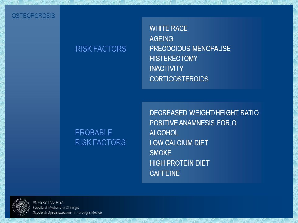 RISK FACTORS PROBABLE RISK FACTORS WHITE RACE AGEING