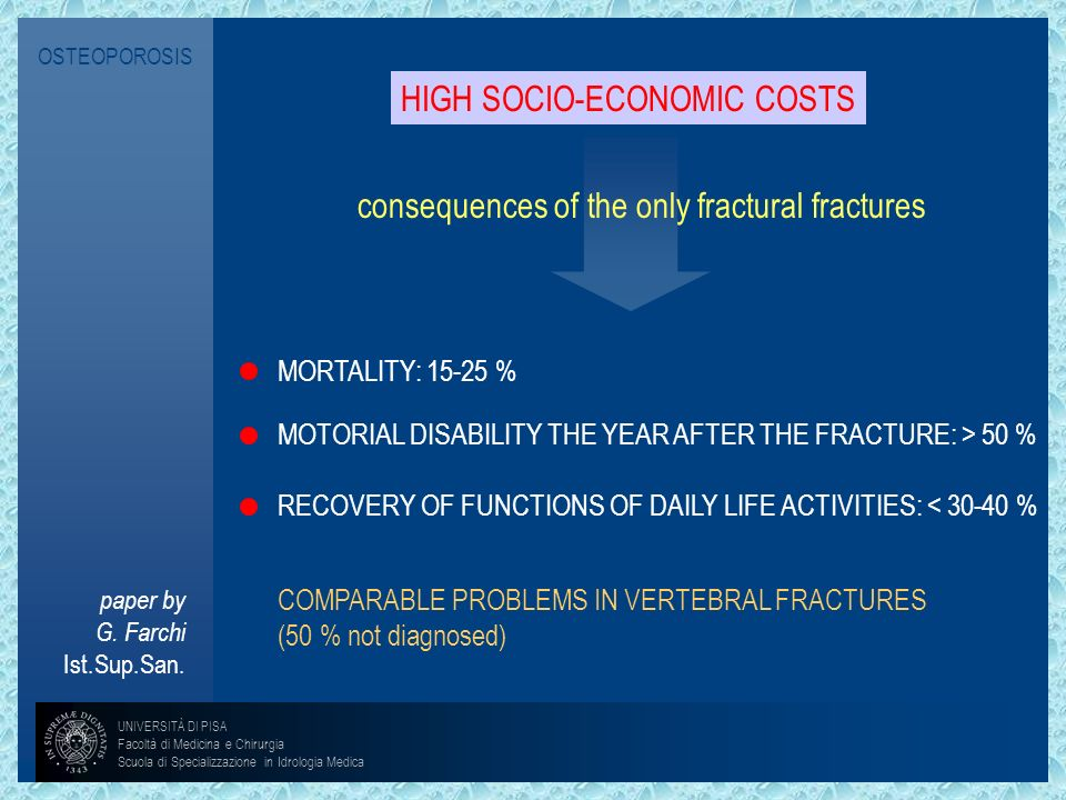 HIGH SOCIO-ECONOMIC COSTS