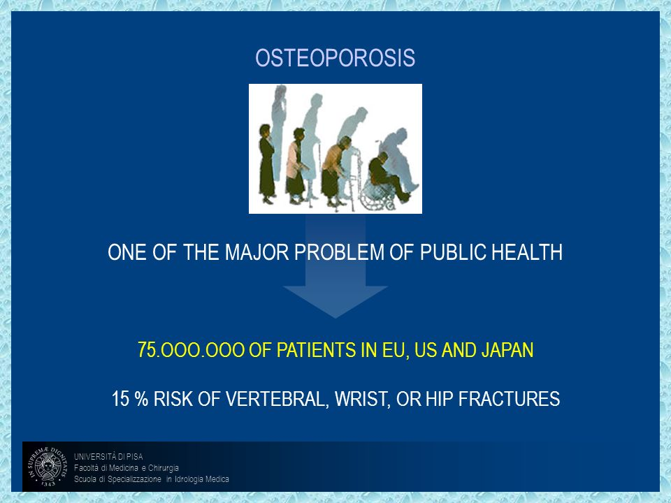 OSTEOPOROSISONE OF THE MAJOR PROBLEM OF PUBLIC HEALTH.