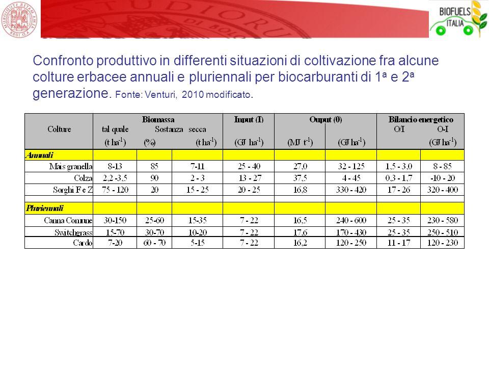 Confronto produttivo in differenti situazioni di coltivazione fra alcune colture erbacee annuali e pluriennali per biocarburanti di 1a e 2a generazione.