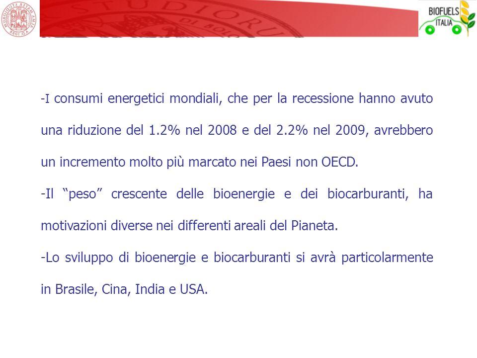 I consumi energetici mondiali, che per la recessione hanno avuto una riduzione del 1.2% nel 2008 e del 2.2% nel 2009, avrebbero un incremento molto più marcato nei Paesi non OECD.