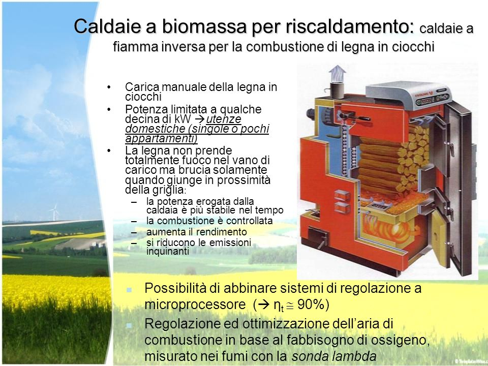 Caldaie a biomassa per riscaldamento: caldaie a fiamma inversa per la combustione di legna in ciocchi