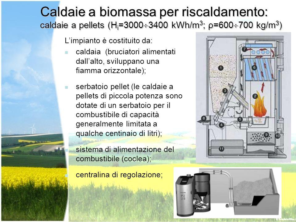 Caldaie a biomassa per riscaldamento: caldaie a pellets (Hi=30003400 kWh/m3; ρ=600700 kg/m3)