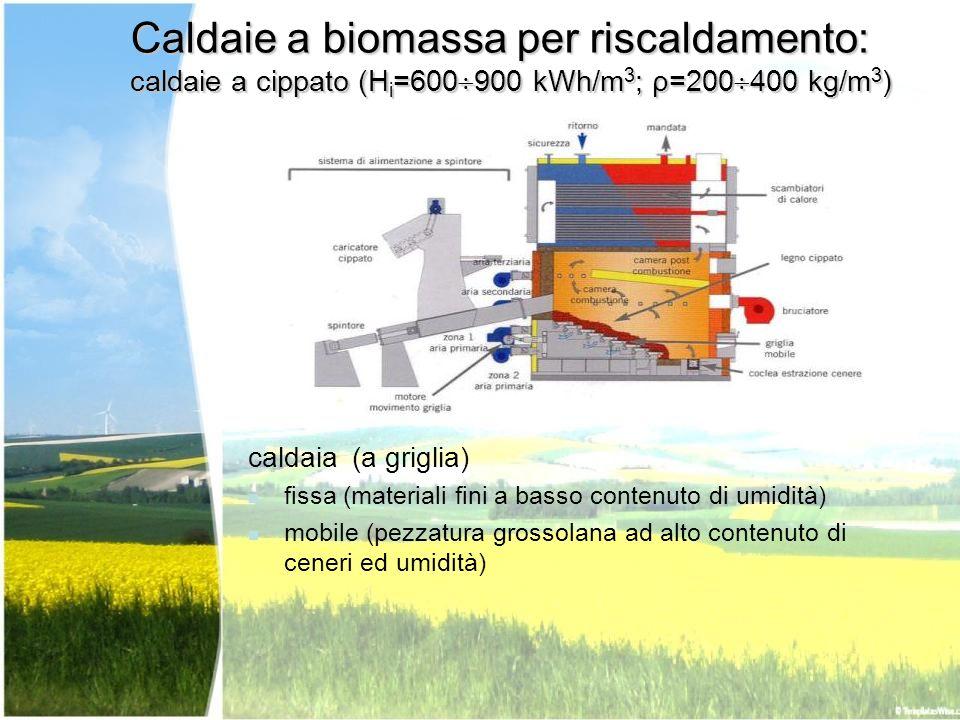 Caldaie a biomassa per riscaldamento: caldaie a cippato (Hi=600900 kWh/m3; ρ=200400 kg/m3)