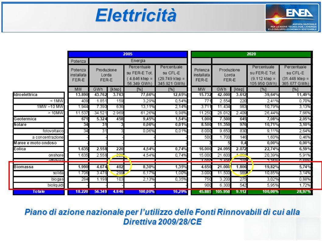 Elettricità Piano di azione nazionale per l'utilizzo delle Fonti Rinnovabili di cui alla Direttiva 2009/28/CE.