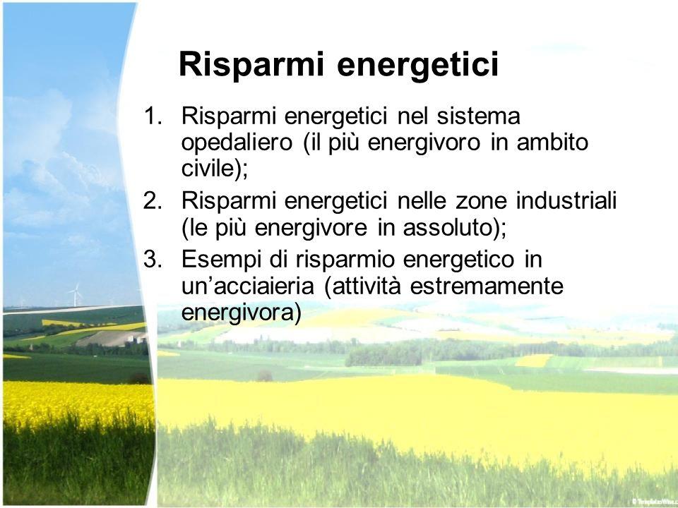 Risparmi energetici Risparmi energetici nel sistema opedaliero (il più energivoro in ambito civile);