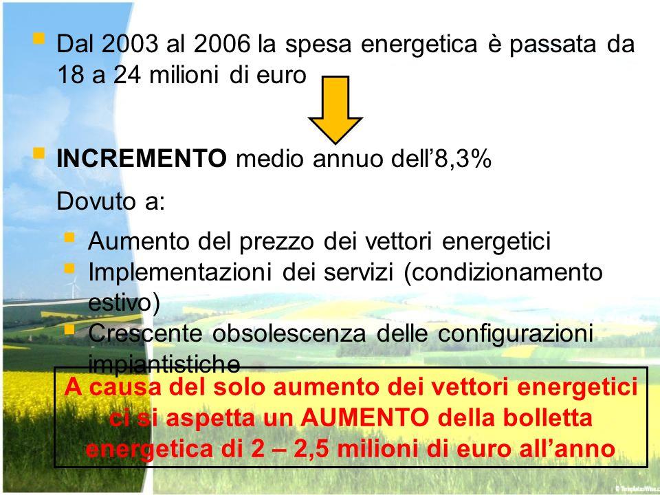 Dal 2003 al 2006 la spesa energetica è passata da 18 a 24 milioni di euro