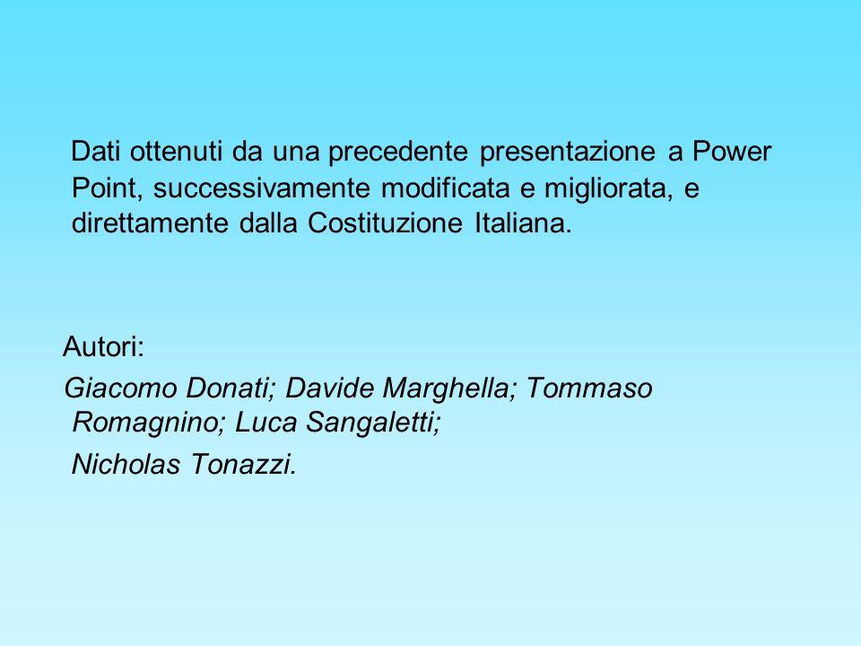 Dati ottenuti da una precedente presentazione a Power Point, successivamente modificata e migliorata, e direttamente dalla Costituzione Italiana.