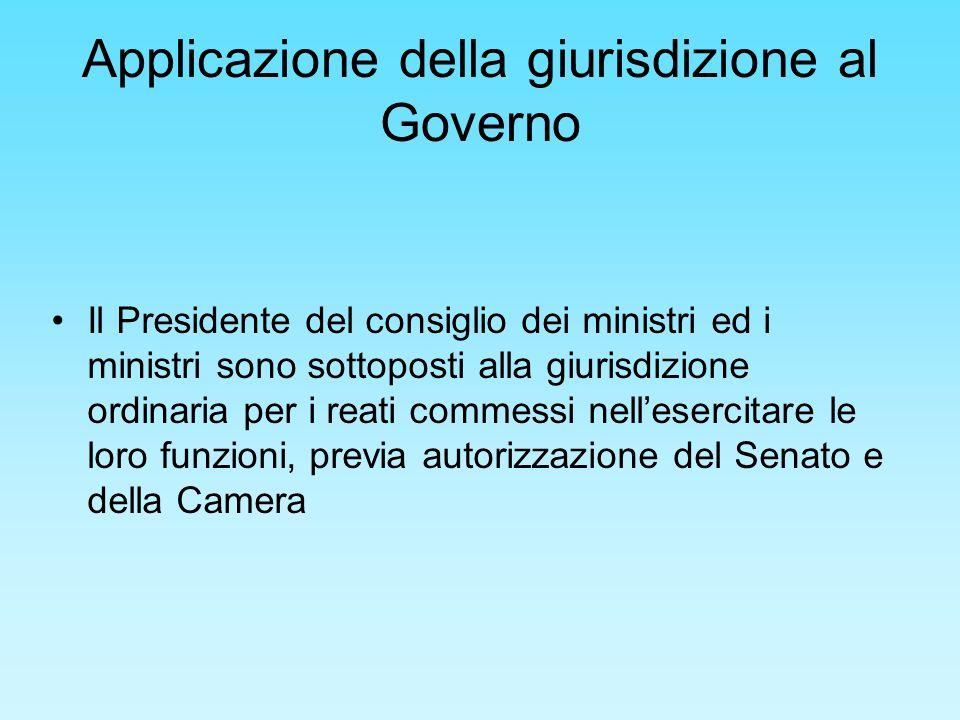 Applicazione della giurisdizione al Governo