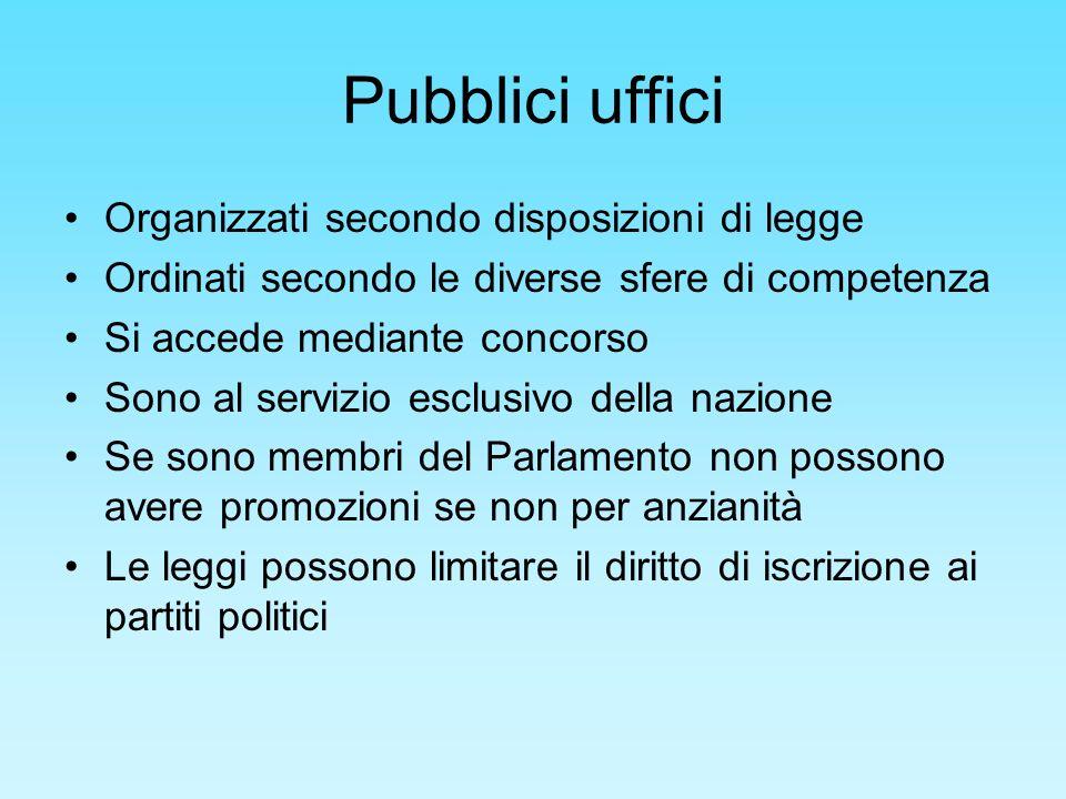 Pubblici uffici Organizzati secondo disposizioni di legge