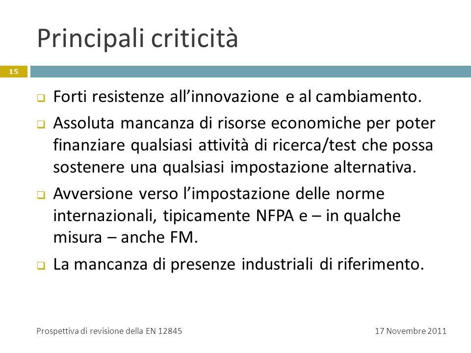 Principali criticità Forti resistenze all'innovazione e al cambiamento.