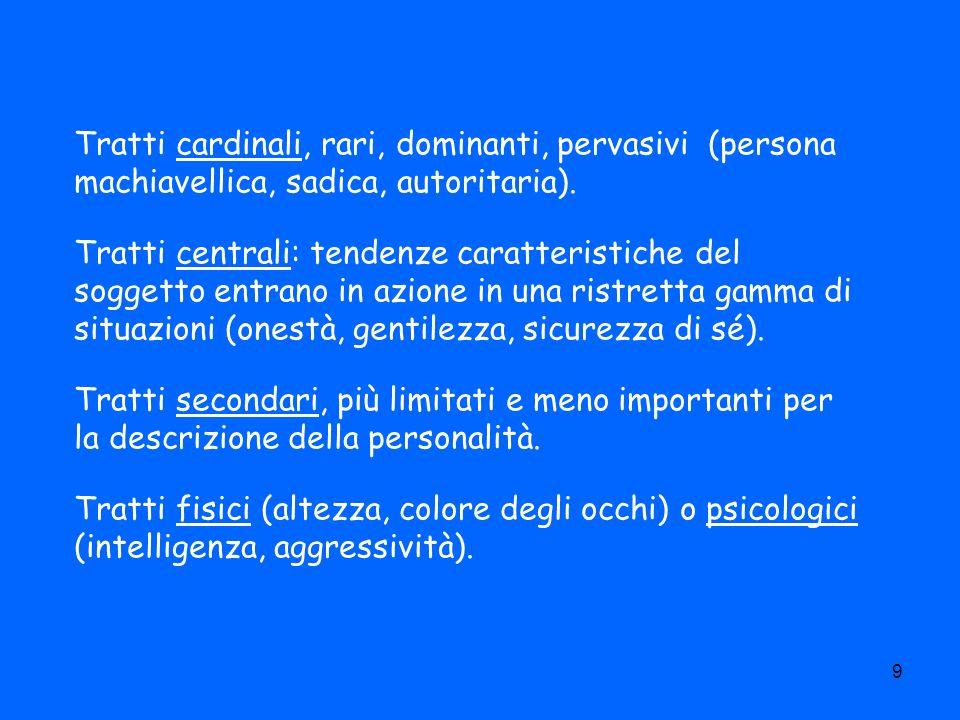Tratti cardinali, rari, dominanti, pervasivi (persona machiavellica, sadica, autoritaria).