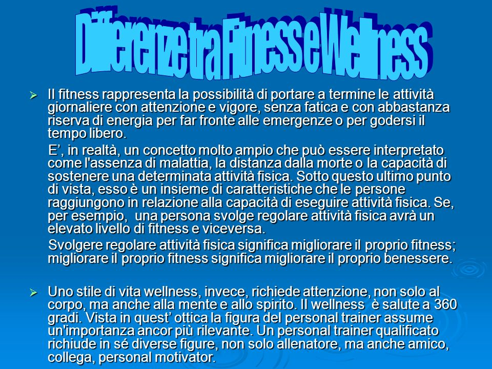 Differenze tra Fitness e Wellness